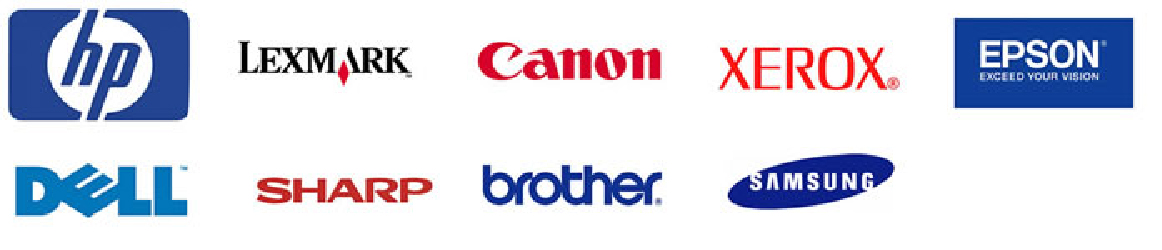 HP, Lexmark, Canon, Dell, Epson, Brother, Sharp, Xerox logos